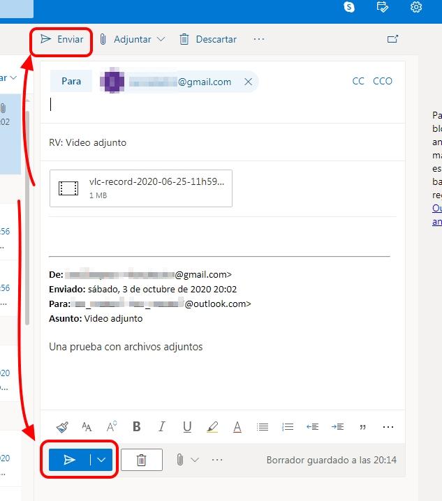 reenviar archivo adjunto correo hotmail