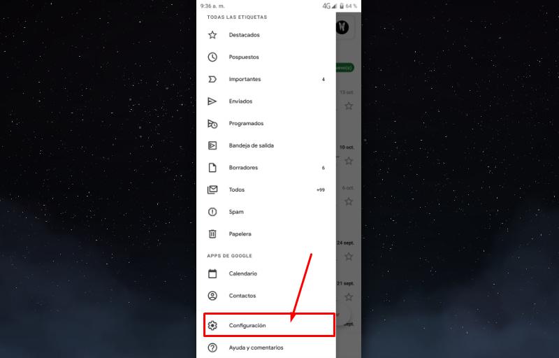 Entrar en la aplicación de Gmail
