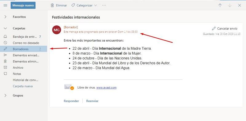 Programación de envío de e-mails en Hotmail