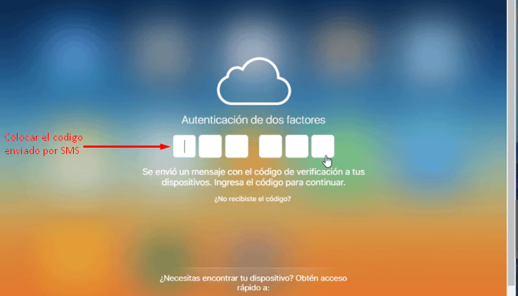 Código de confirmación iCloud