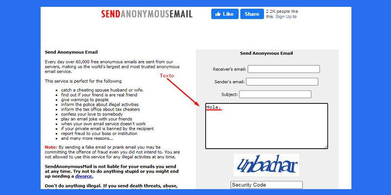 Pueden enviar un correo anónimo de Gmail