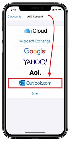 selecciona outlook en iphone