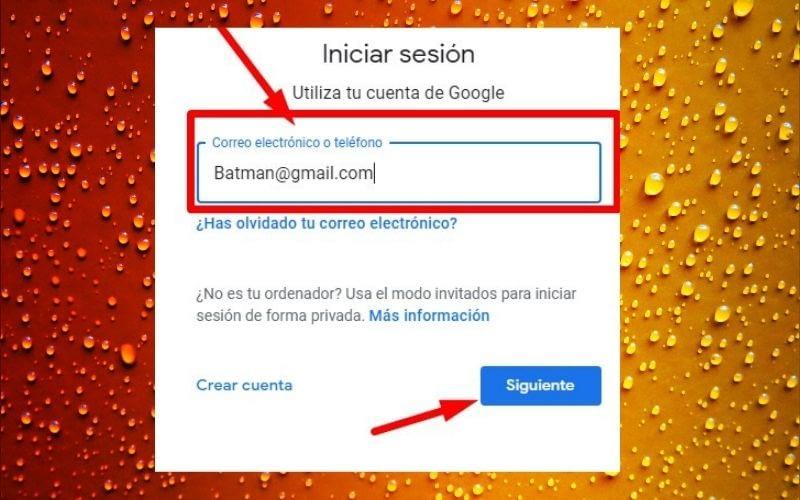 inicia sección en tu Gmail
