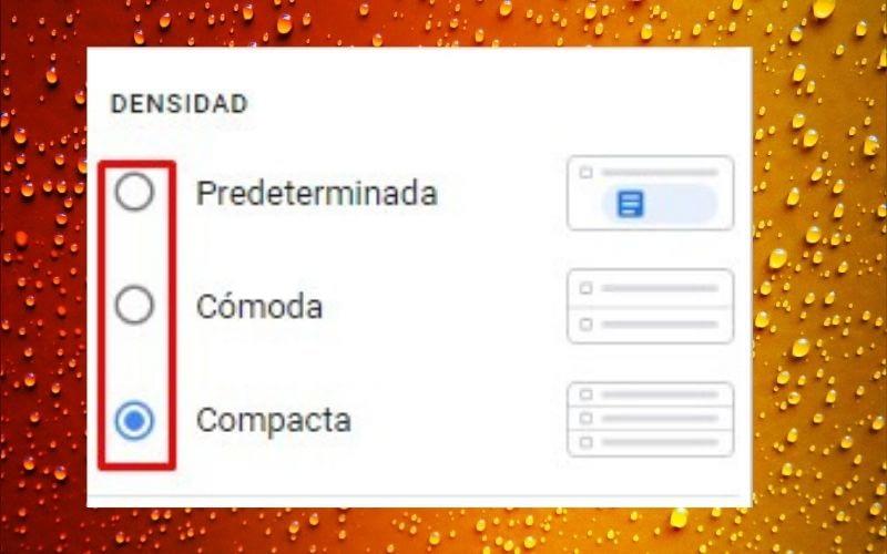 elige la densidad de la bandeja de mensajes