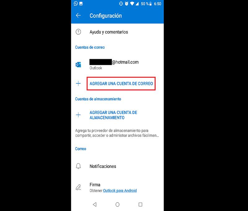 Configurar una cuenta Hotmail en Android