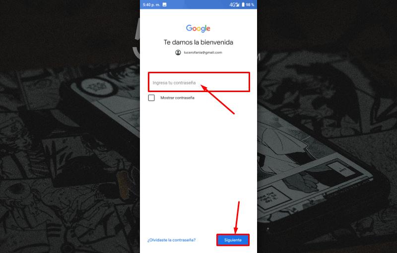 Agregar cuenta Gmail al teléfono Android