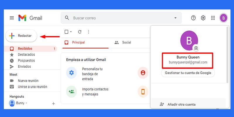 Bienvenido a la bandeja de entrada de gmail