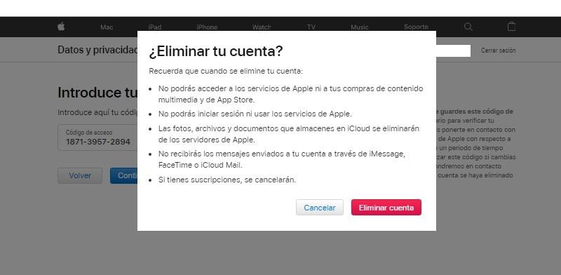 borrar una cuenta en iCloud Mail