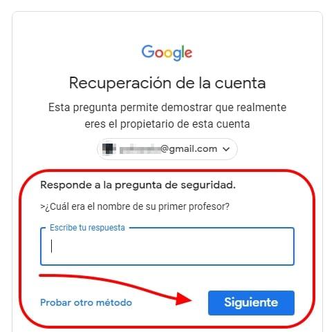 pregunta de seguridad gmail