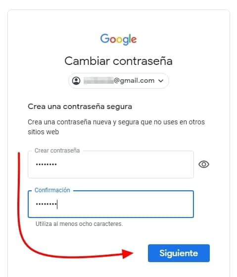 cambiar password gmail