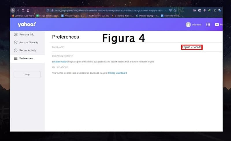 Cambiar idioma Yahoo! Mail